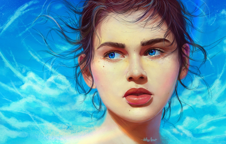 Photo wallpaper Girl, Lips, Style, Face, Girl, Eyes, Art, Beautiful, Illustration, Portrait, Characters, Curls, Arthur Henri, by …