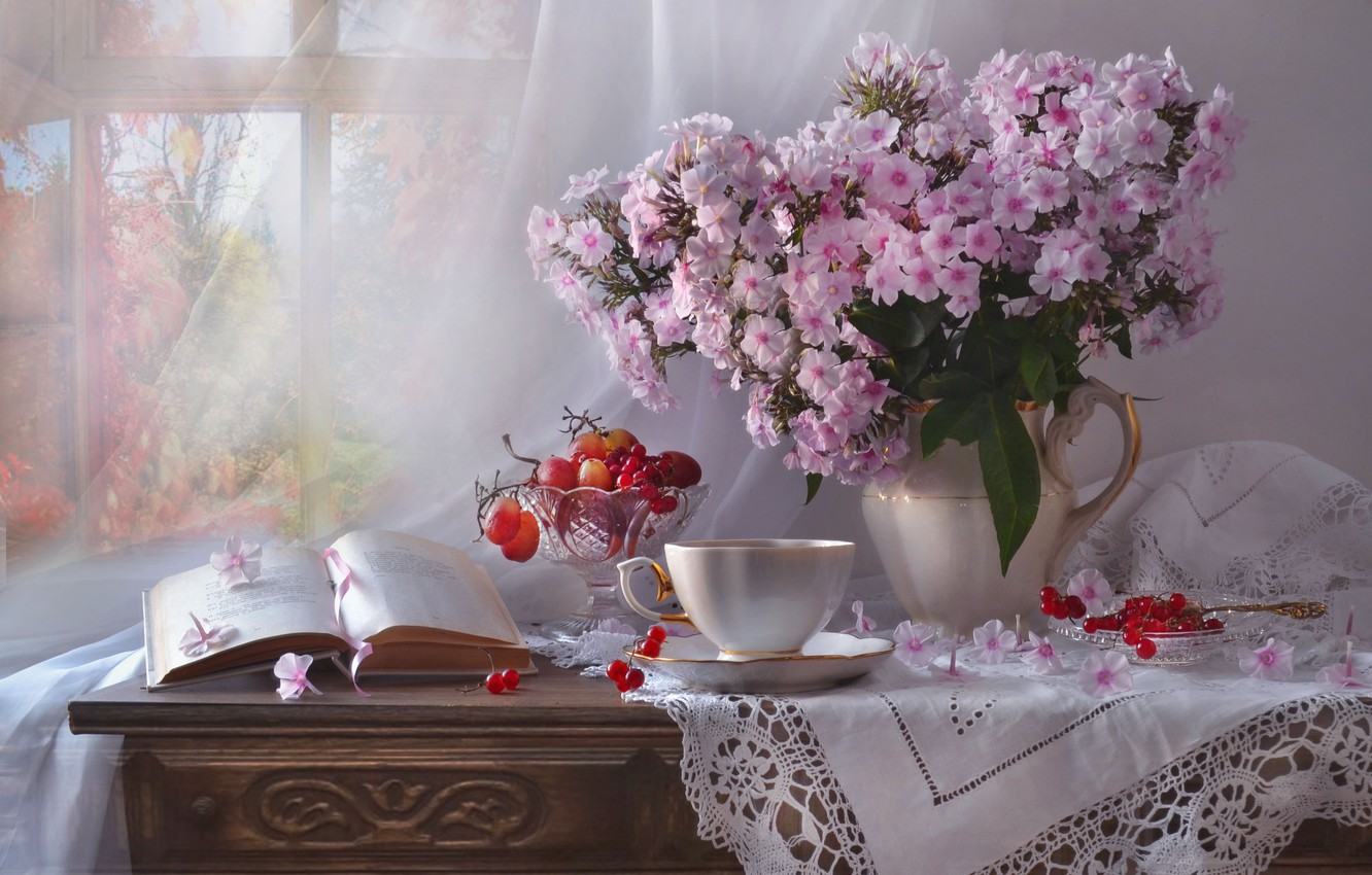 Photo wallpaper flowers, berries, window, grapes, Cup, book, pitcher, still life, curtain, chest, napkin, vase, Kalina, Phlox, …