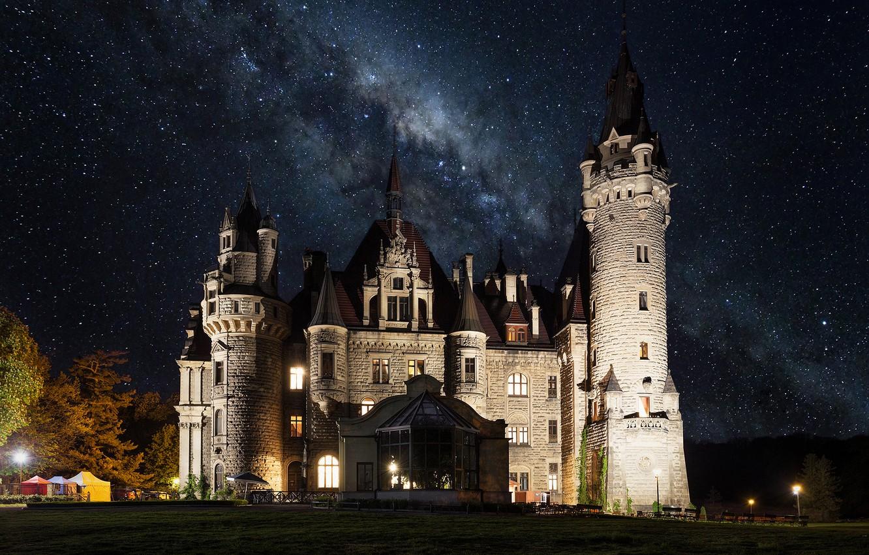 Photo wallpaper the sky, landscape, night, stars, lighting, Poland, tower, architecture, the milky way, Posnanski castle, Moszna …