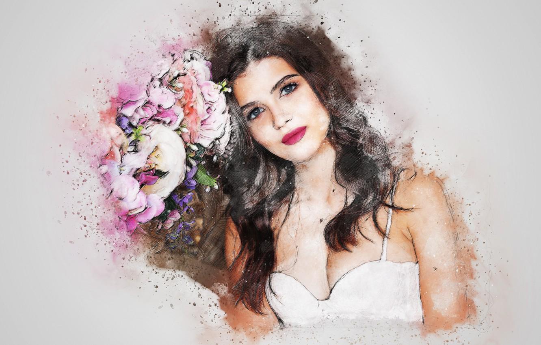 Photo wallpaper flowers, background, girl art