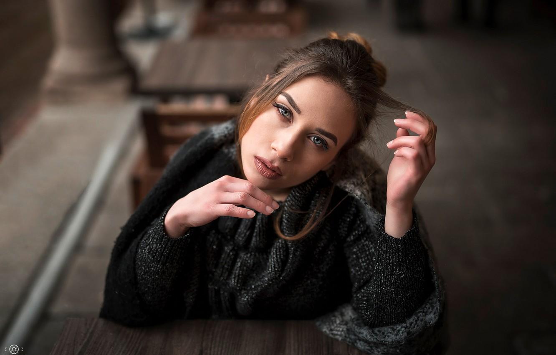 Photo wallpaper look, pose, model, portrait, makeup, scarf, hairstyle, brown hair, beauty, jacket, sitting, bokeh, Simona, at …