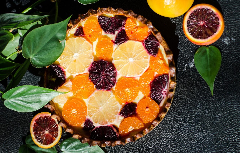 Photo wallpaper background, pie, leaves, citrus, grapefruit