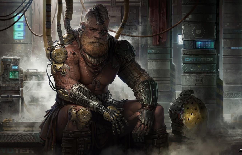 Photo wallpaper look, fiction, male, beard, art, cyberpunk, Sci-Fi