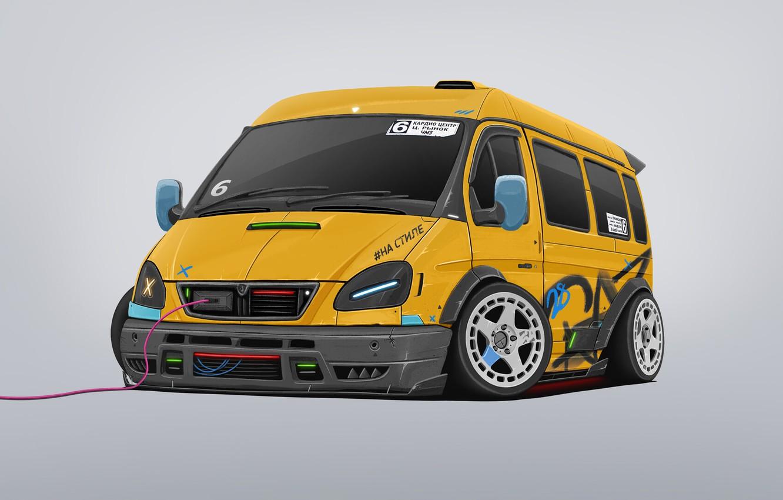 Photo wallpaper Auto, Machine, Tuning, Style, Yellow, Gas, Transport & Vehicles, Dmitry Strukov, by Dmitry Strukov, Bus, …