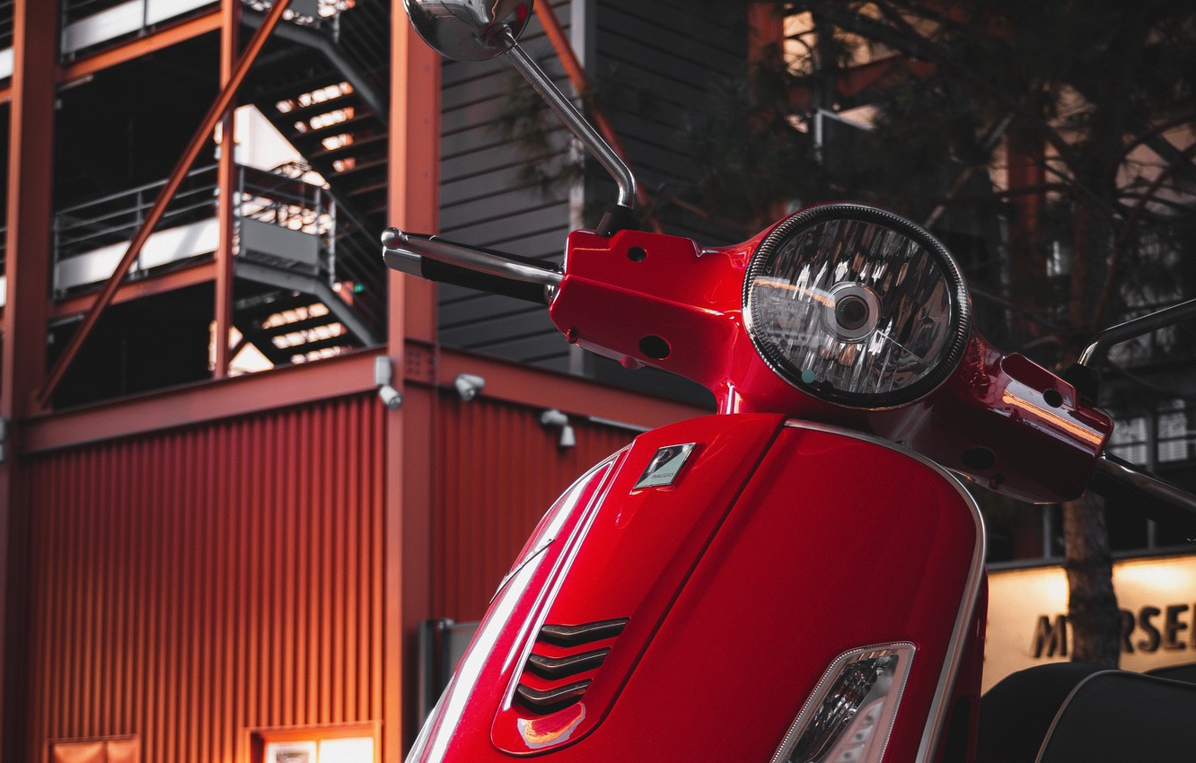Photo wallpaper red, building, Vespa, scooter, Piaggio