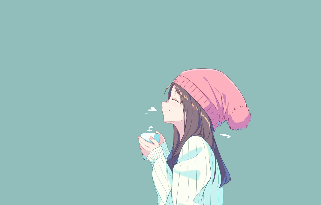 Wallpaper Girl Hot Anime Green Smile Coffee Minimalism