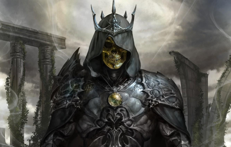 Photo wallpaper skull, armor, crown, fantasy, skeleton, dark fantasy