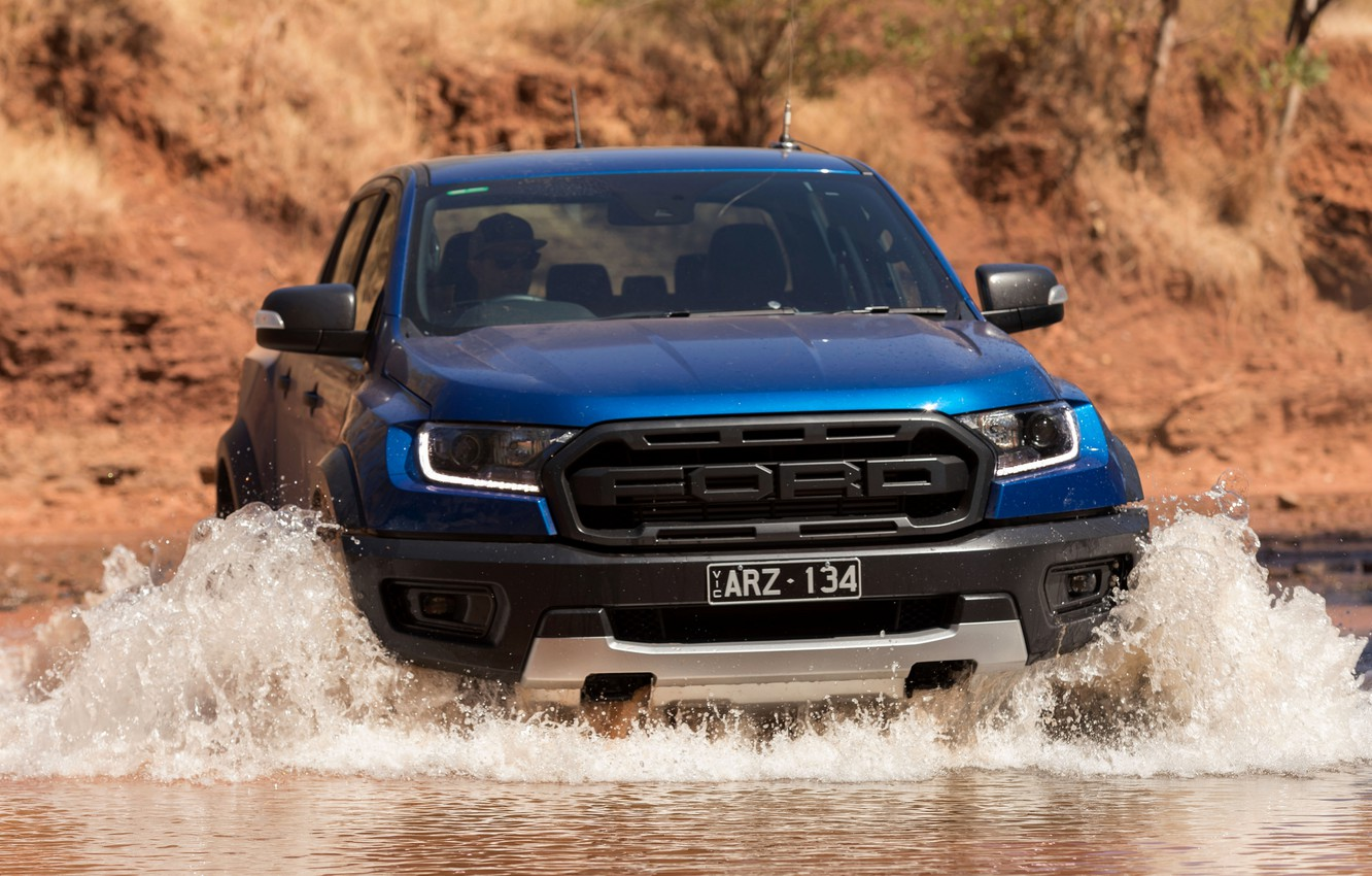 Photo wallpaper water, blue, Ford, Raptor, pickup, 2018, Ranger, Ford