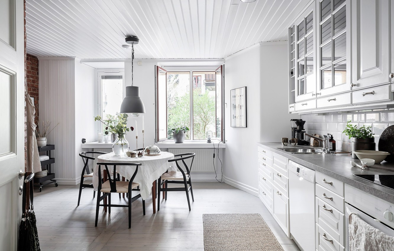 Wallpaper Interior Kitchen Dining Room Scandinavian Style
