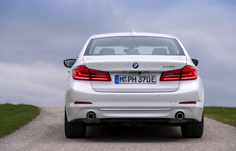 Photo wallpaper white, BMW, sedan, hybrid, feed, 5, four-door, 2017, 5-series, G30, 530e iPerformance