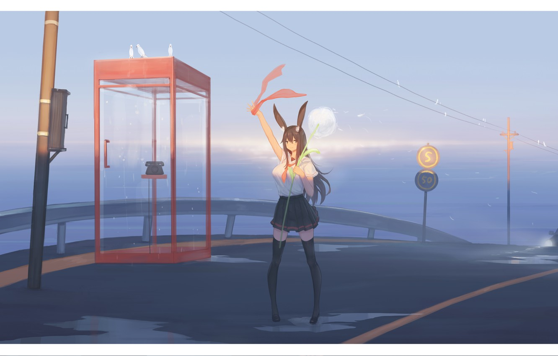 Photo wallpaper auto, girl, road, school uniform, ears, phone booth