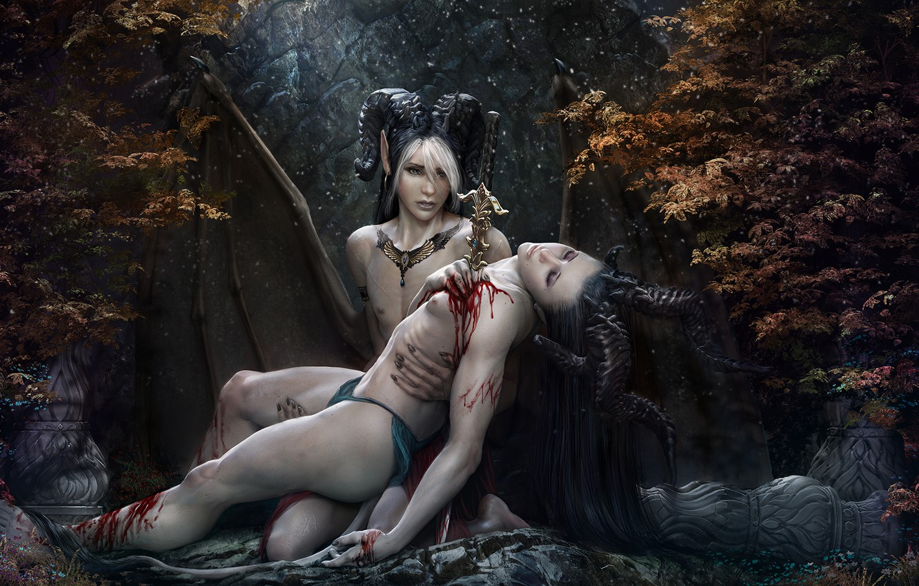 Photo wallpaper blood, fantasy, creatures, knife, horns, two, wound