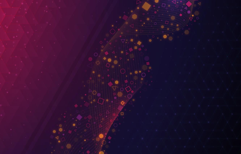 Photo wallpaper purple, circles, triangles, squares, Linux, KDE, two-tone, Plasma, geometric shapes, High merchant, Plasma 5.21