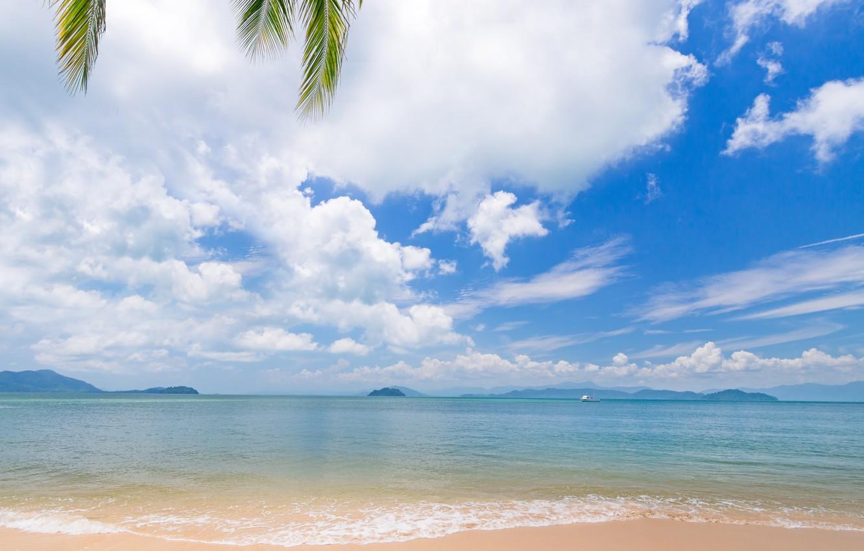 Photo wallpaper sand, sea, beach, summer, the sky, the sun, palm trees, shore, summer, beach, sea, seascape, …