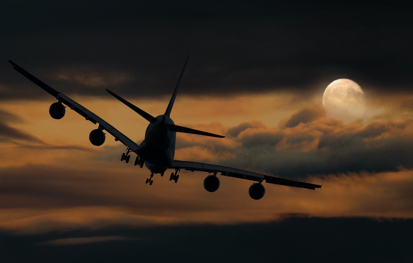 Photo wallpaper The sky, Clouds, Night, The plane, The moon, Liner, Flight, The full moon, Landing, Airliner, …