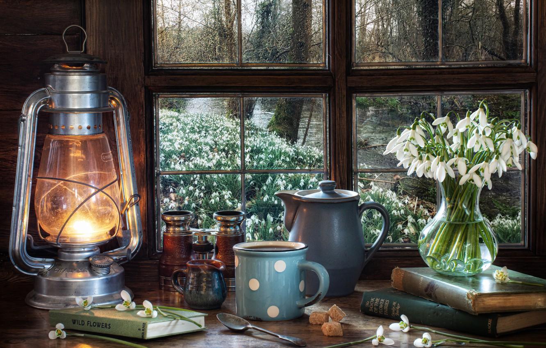 Photo wallpaper flowers, style, books, lamp, kettle, window, snowdrops, mug, lantern, binoculars