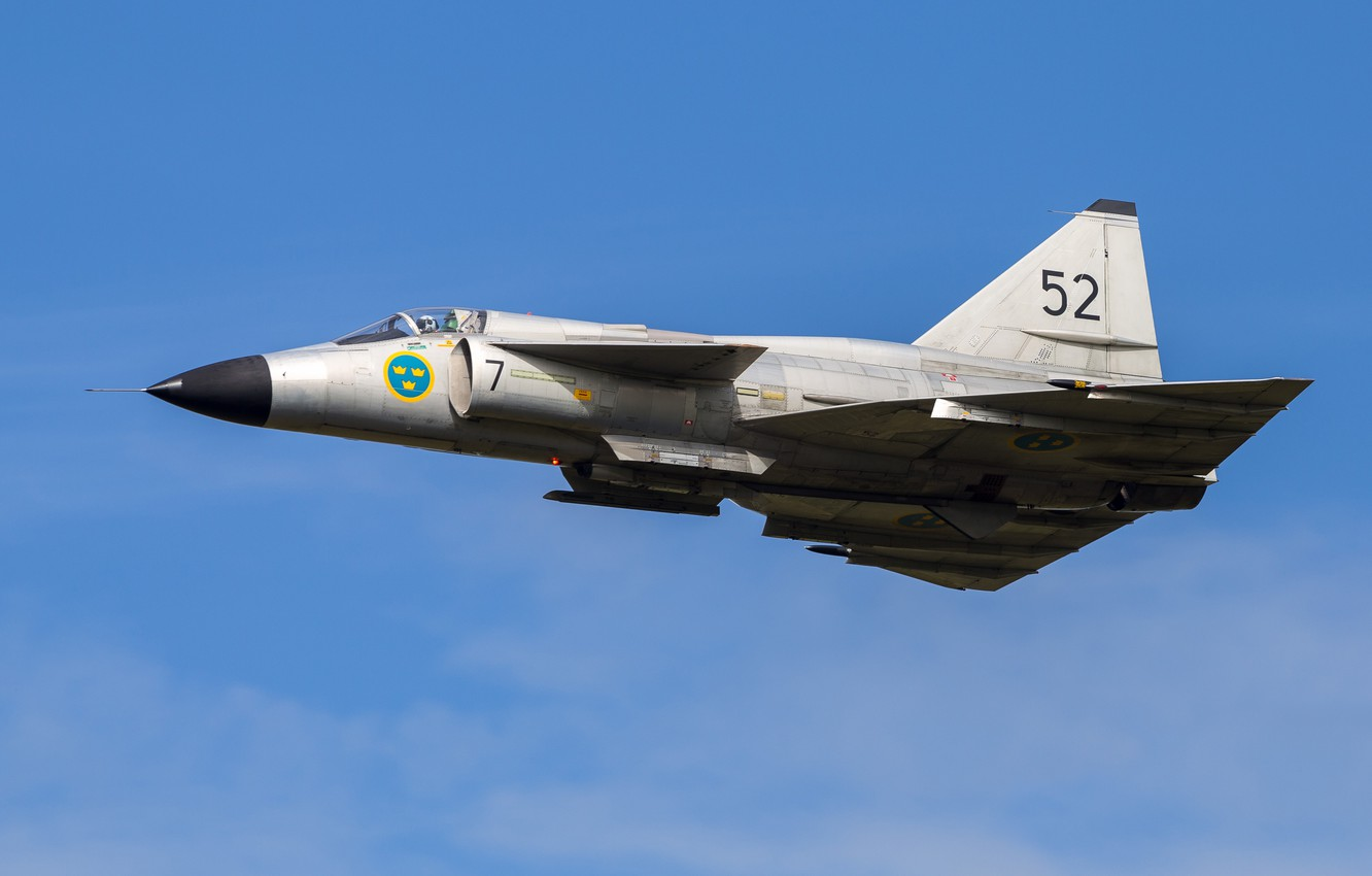 Photo wallpaper Fighter, You CAN, Swedish air force, Can 37 Viggen