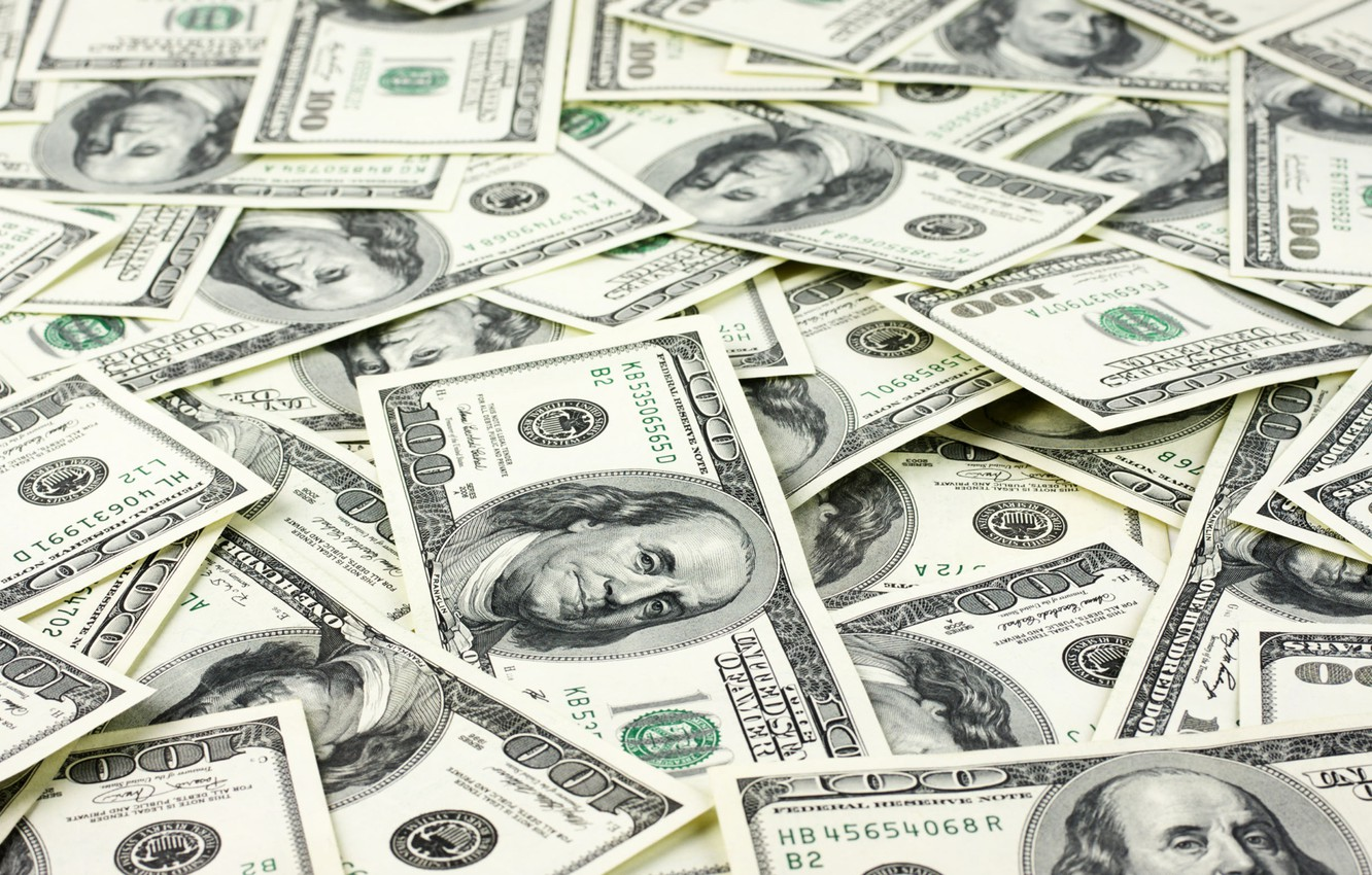 Photo wallpaper dollars, paper, currency, fortune