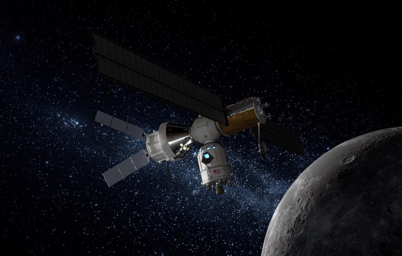 Photo wallpaper stars, the moon, satellite, Space