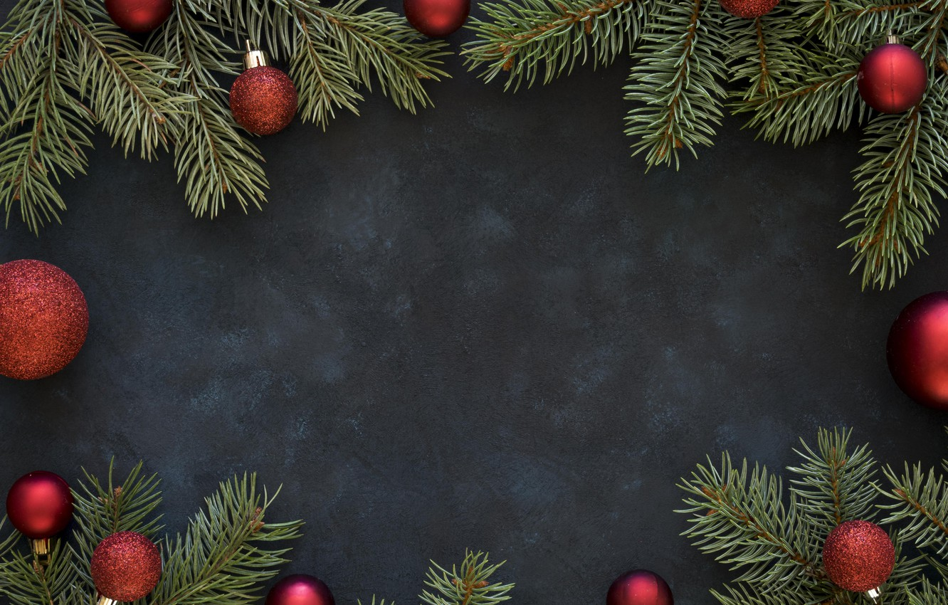 Photo wallpaper decoration, balls, Christmas, New year, christmas, balls, wood, decoration, frame, fir tree, fir-tree branches