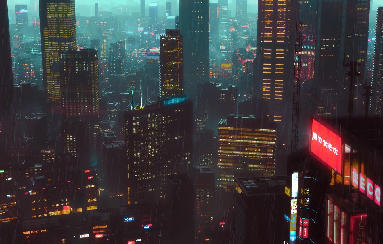 Photo wallpaper Night, The city, Rain, City, Architecture, Night, Rain, Environment, Science Fiction, Cyberpunk, SciFi, Artem Gainullov, …