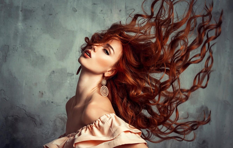Photo wallpaper look, girl, pose, hair, earrings, shoulders, Liliya Nazarova