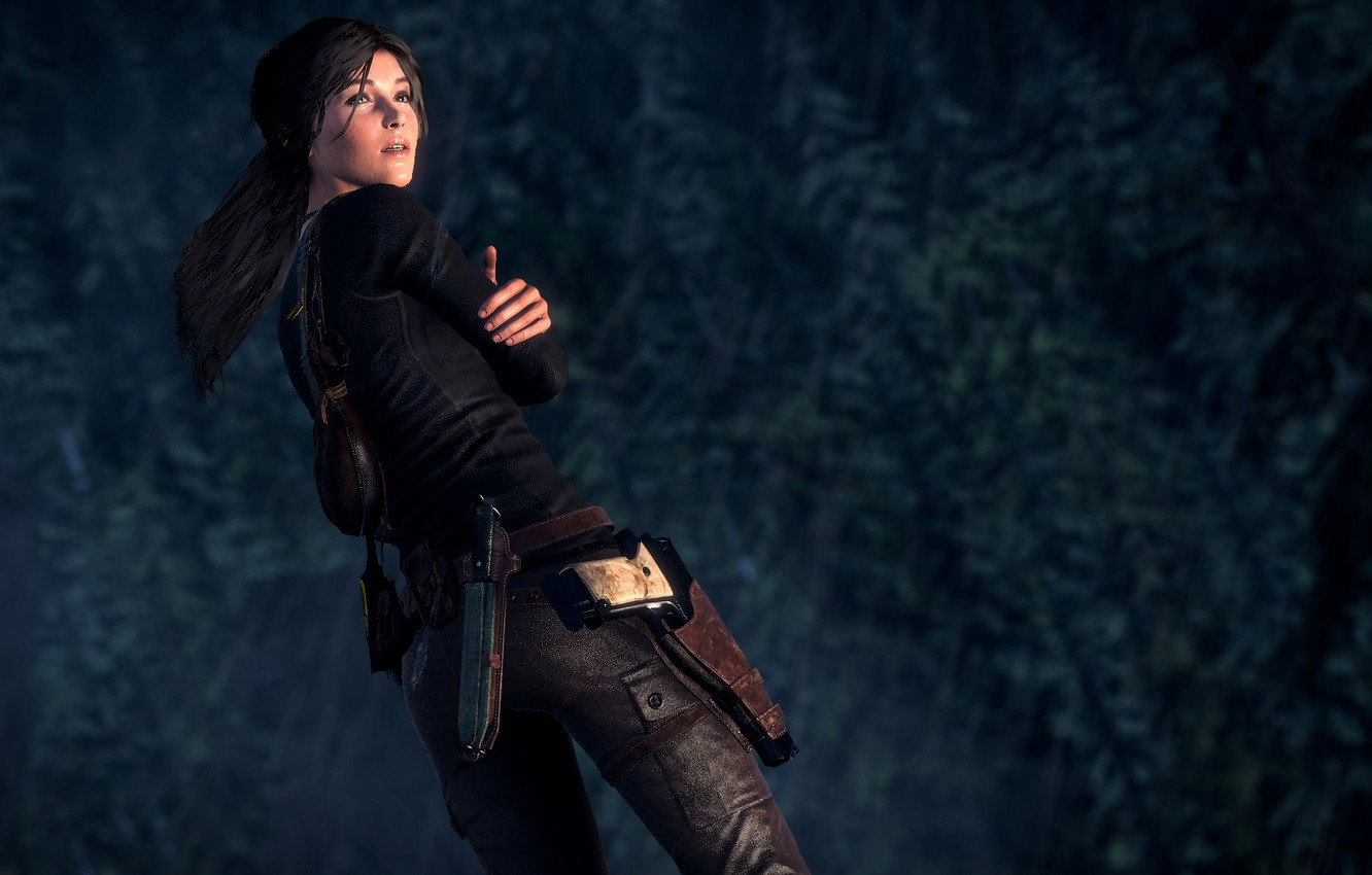 Photo wallpaper forest, darkness, gun, rain, danger, knife, gun, pistol, gun, forest, lara croft, rain, danger, knife, …