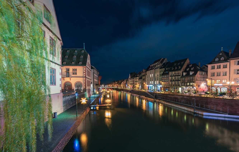 Photo wallpaper night, lights, France, Strasbourg