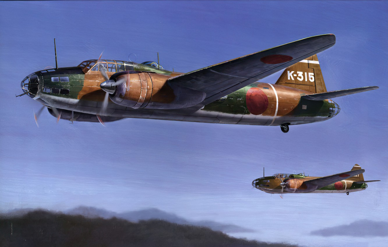 Photo wallpaper bomber, art, airplane, aviation, ww2, Mitsubishi g4m1