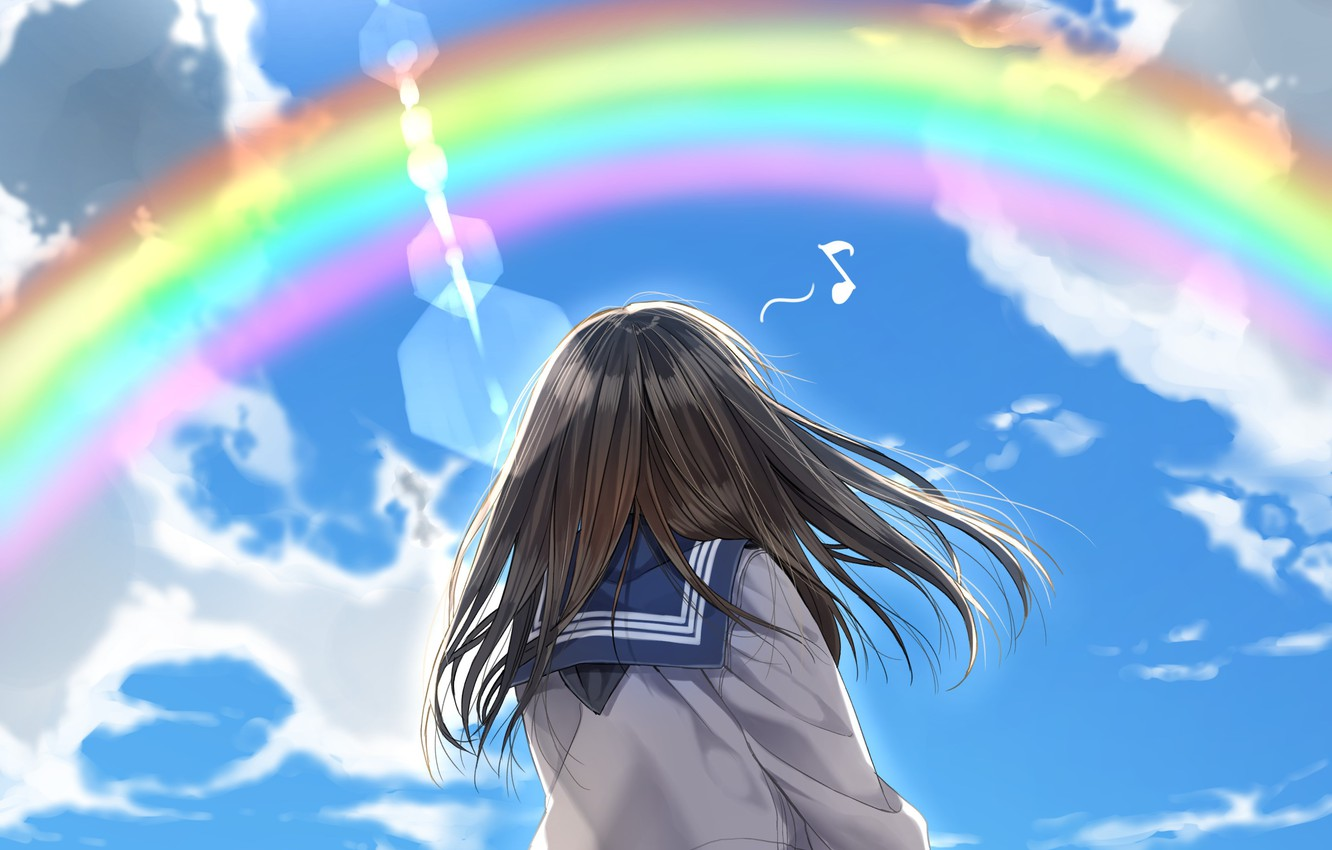 Photo wallpaper clouds, rainbow, schoolgirl, blue sky, breeze, sailor, from the back