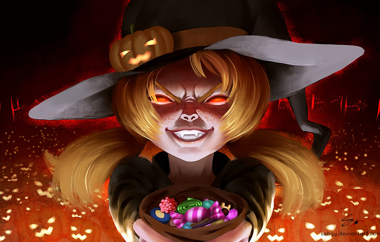 Photo wallpaper pumpkin, sweets, fangs, girl, bag, halloween, baby, Jack, burning eyes, witch, witch hat, evil eye, …