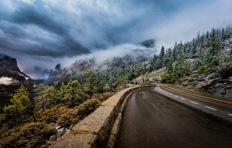 Photo wallpaper road, trees, mountains, fog, CA, California, Yosemite national Park, Yosemite National Park, Sierra Nevada, Sierra …