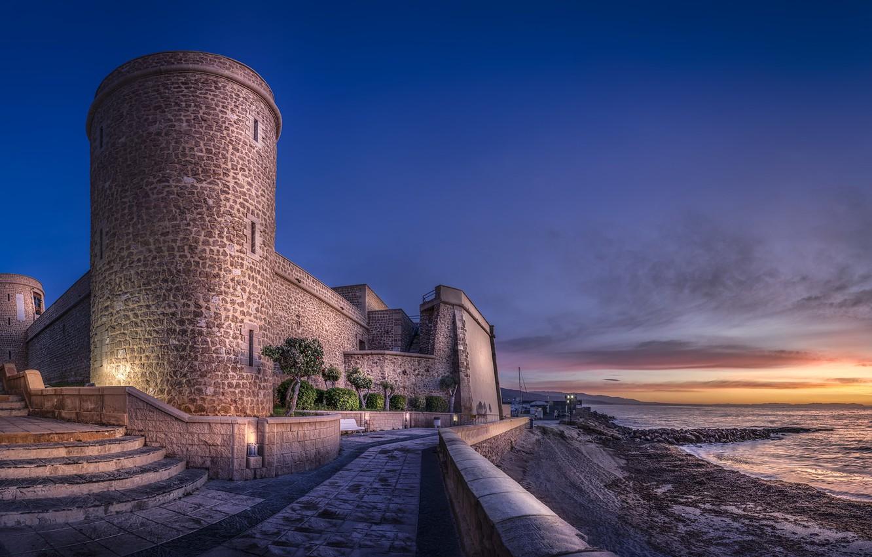 Photo wallpaper Port of Roquetas de mar, Castle of Las Roquetas, Castle of Santa Ana