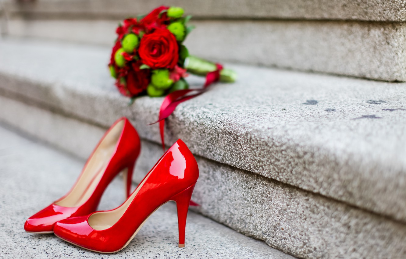 Photo wallpaper flowers, roses, bouquet, shoes, heels, red, studs, wedding, bouquet, roses, wedding, high heels