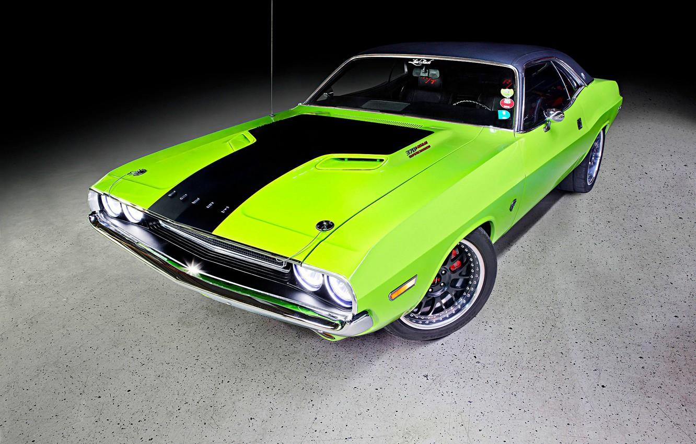 Photo wallpaper Dodge, Challenger, Dodge Challenger, Green, Tuning, Muscle car, Hellcat, Vehicle, 370 Hemi Supercharger