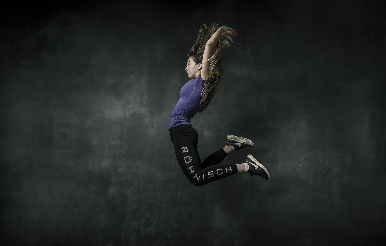 Photo wallpaper girl, jump, sport
