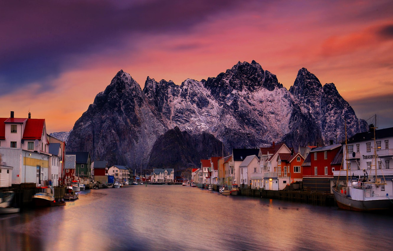 Photo wallpaper sea, landscape, sunset, mountains, rocks, home, boats, village, Norway, The Lofoten Islands, The Rhine, Lofoten