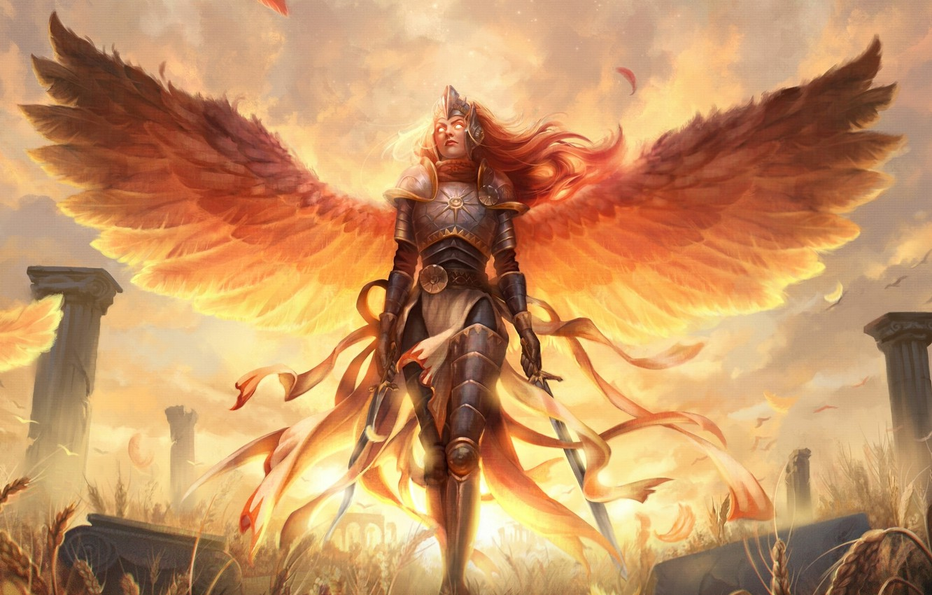Photo wallpaper Valkyrie, burning eyes, valkyrie, swords in the hands, Magic the Gathering, armor plate, wingspan