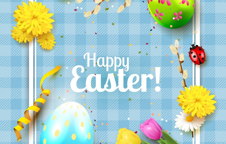 Photo wallpaper flowers, eggs, Easter, tulips, Verba, Easter