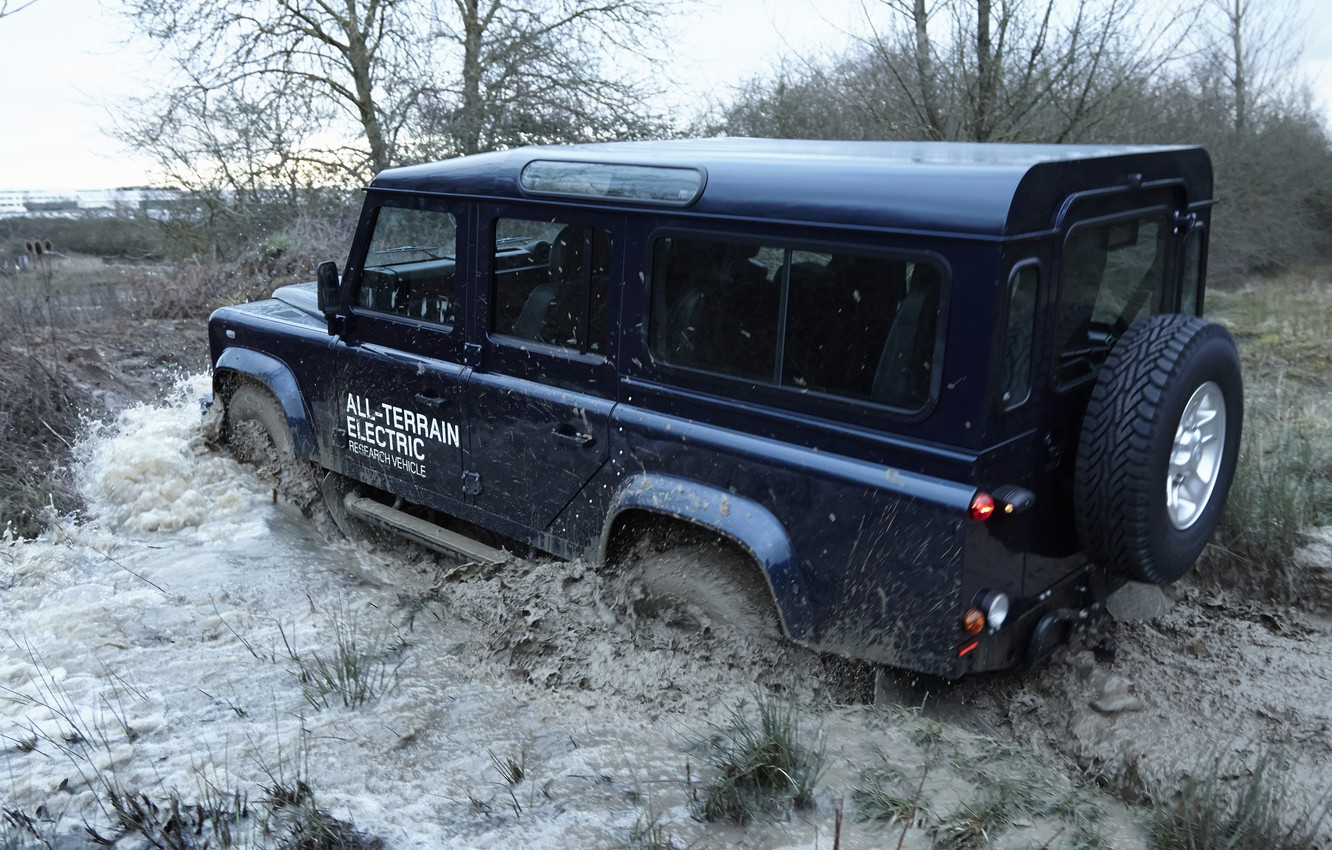 Photo wallpaper puddle, prototype, Land Rover, Defender, 2013, All-terrain Electric Research Vehicle