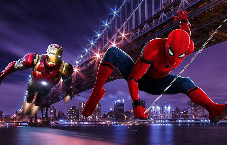 Photo wallpaper Bridge, New York, Night, Iron Man, Tony Stark, Peter Parker, Spider Man