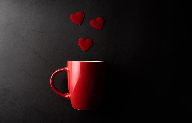 Photo wallpaper mug, hearts, Valentine's day, the dark background