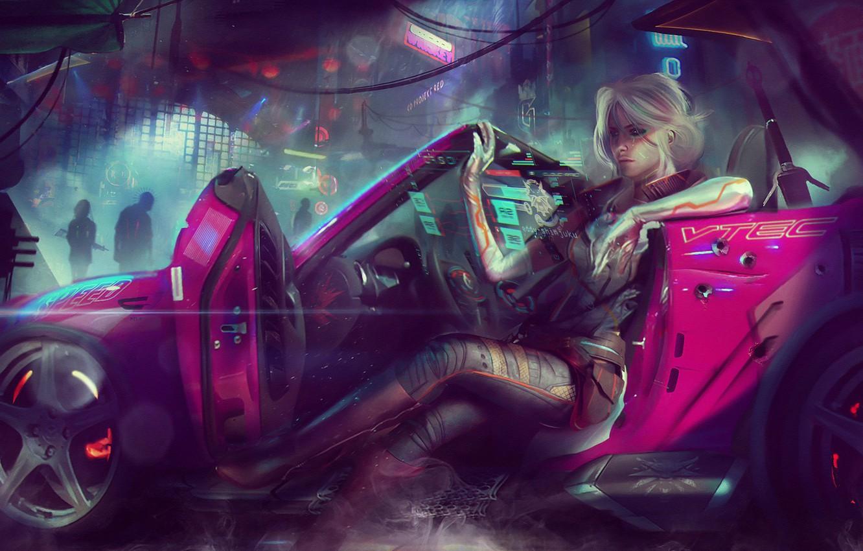 Photo wallpaper girl, the city, fiction, car, the Witcher, art, cyberpunk 2077, Cirilla Fiona Elen Riannon, Ciri, ...