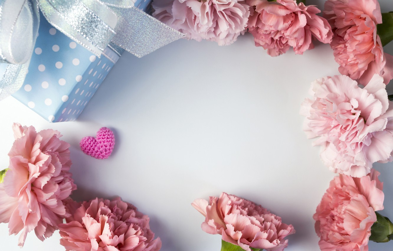 Photo wallpaper flowers, gift, hearts, love, pink, pink, flowers, beautiful, romantic, hearts, gift, clove, carnation