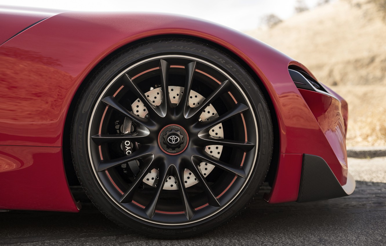 Photo wallpaper red, coupe, wheel, Toyota, body, 2014, FT-1 Concept