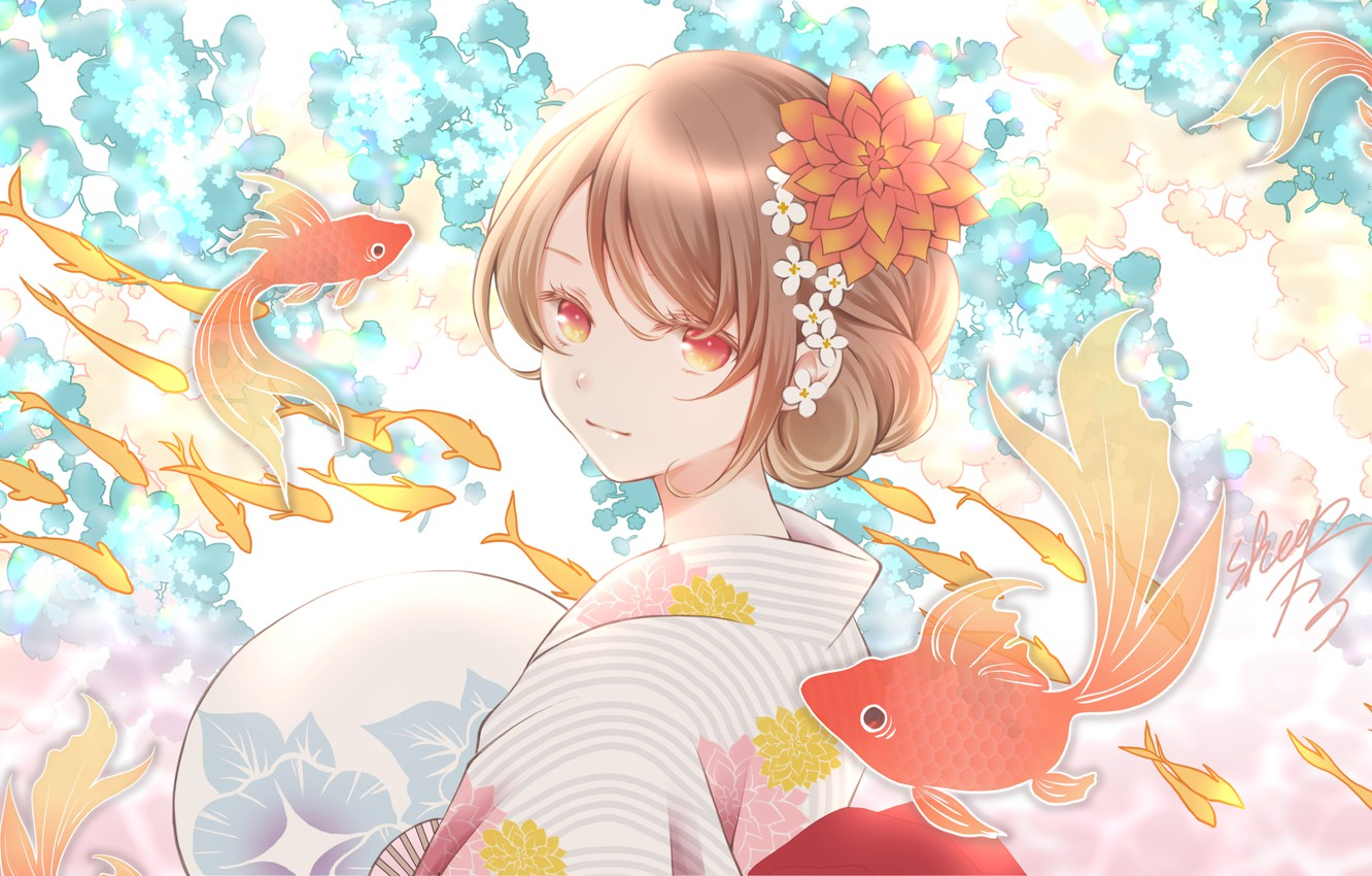 Photo wallpaper girl, fish, goldfish