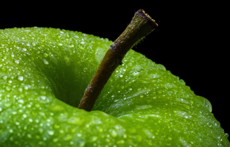 Photo wallpaper drops, macro, Apple, green