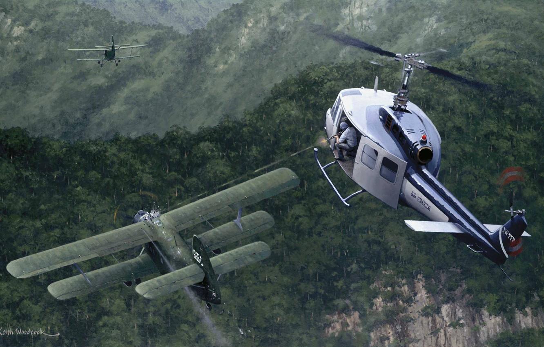 Photo wallpaper war, figure, jungle, Vietnam, maize, shooter, An-2, Air America, UH-1 Huey