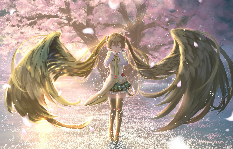 Photo wallpaper girl, Sakura, Hatsune Miku, Vocaloid