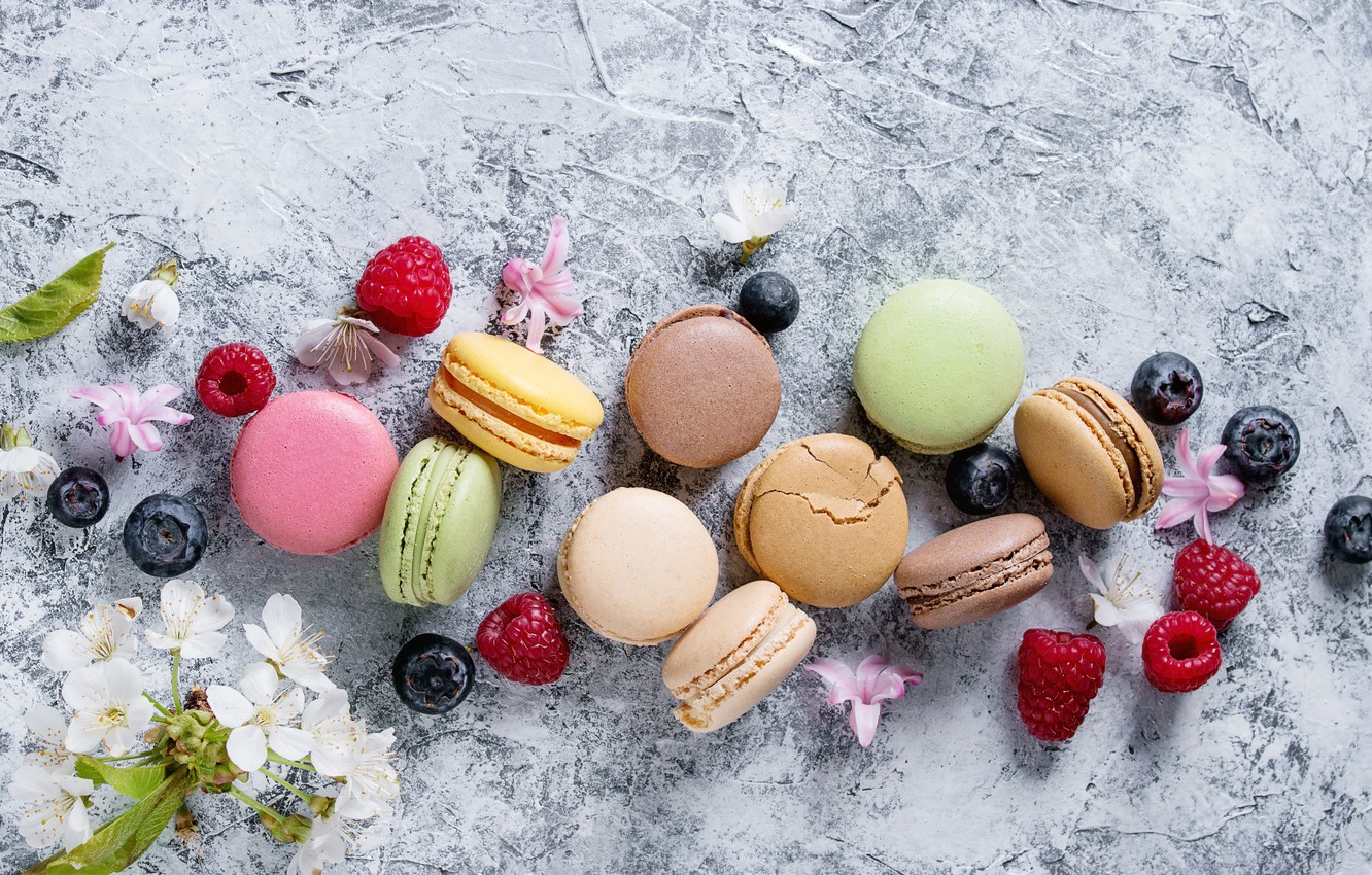 Photo wallpaper berries, colorful, flowers, fruit, berries, macaroons, macaron, macaroon